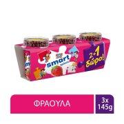 ΔΕΛΤΑ Smart Επιδόρπιο Γιαουρτιού Φράουλα Παιδικό 2x145gr +1 Δώρο