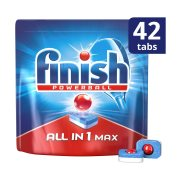 FINISH All In 1 Max Απορρυπαντικό Πλυντηρίου Πιάτων Ταμπλέτες Κανονικό 42τεμ 672gr