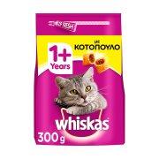 WHISKAS Ξηρά Τροφή Γάτας 1+ετών Κροκέτες Γεμιστές με Κοτόπουλο 300gr