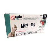 SAFE4ALL Γάντια Λάτεξ Χωρίς Πούδρα Medium 100τεμ