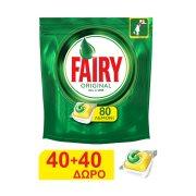 FAIRY Original Απορρυπαντικό Πλυντηρίου Πιάτων Ταμπλέτες Λεμόνι 40τεμ +40τεμ Δώρο