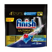 FINISH Powerball Quantum Ultimate Απορρυπαντικό Πλυντηρίου Πιάτων Ταμπλέτες Κανονικό 32τεμ 400gr