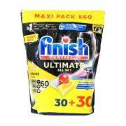 FINISH Powerball Quantum Ultimate Απορρυπαντικό Πλυντηρίου Πιάτων Ταμπλέτες Λεμόνι 30τεμ +30τεμ Δώρο