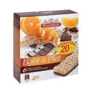 MILLHOUSE Light & Diet Μπάρες Δημητριακών με Σοκολάτα & Πορτοκάλι 6x25gr