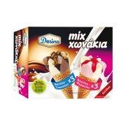DESINO Mix Παγωτό Χωνάκι Βανίλια Σοκολάτα & Βανίλια Φράουλα 6τεμ 414gr (720ml)