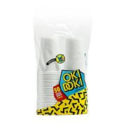 OKI DOKI Ποτήρια Πλαστικά Ανάγλυφα Λευκά 240ml 50τεμ