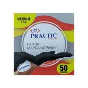 PRACTIC Γάντια Νιτριλίου Medium μαύρα 50τεμ