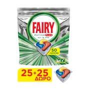 FAIRY Platinum Plus Απορρυπαντικό Πλυντηρίου Πιάτων Ταμπλέτες Λεμόνι 25τεμ +25τεμ Δώρο