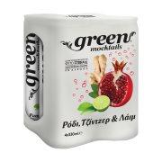GREEN Mocktails Αναψυκτικό Pomegranate Ginger & Lime με Στέβια Χωρίς Ζάχαρη 4x330ml