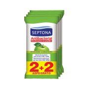 SEPTONA Υγρομάντηλα Αντιβακτηριδιακά Πράσινο Μήλο 2x15τεμ +2 Δώρο
