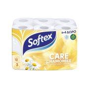 SOFTEX Care Χαρτί Υγείας Χαμομήλι  3 Φύλλων 8τεμ +4δώρο 936gr