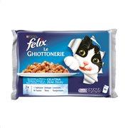 FELIX Υγρή Τροφή Γάτας Σολωμός & Τόνος σε ζελέ 4x100gr