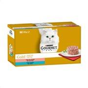 GOURMET Gold Υγρή Τροφή Γάτας Τόνος & Σολομός Ταρτάρ 4x85gr