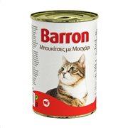 BARRON Υγρή Τροφή Γάτας Μοσχάρι Μπουκιές 400gr