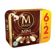 MAGIC Mini Παγωτό Classic Almond White Χωρίς γλουτένη 6Τεμ 264gr + 2Τεμ 88gr Δώρο