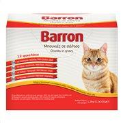 BARRON Υγρή Τροφή Γάτας σε 4 Γεύσεις Μπουκιές σε σάλτσα 12Χ100gr