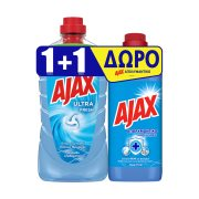 AJAX Ultra Καθαριστικό Υγρό Γενικής Χρήσης Κανονικό Vegan 1lt +AJAX Απολυμαντικό Clean Fresh 650ml Δώρο
