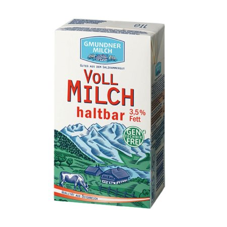 GMUNDNER MILCH Γάλα Υψηλής Παστερίωσης Πλήρες 3,5% Λιπαρά 1lt