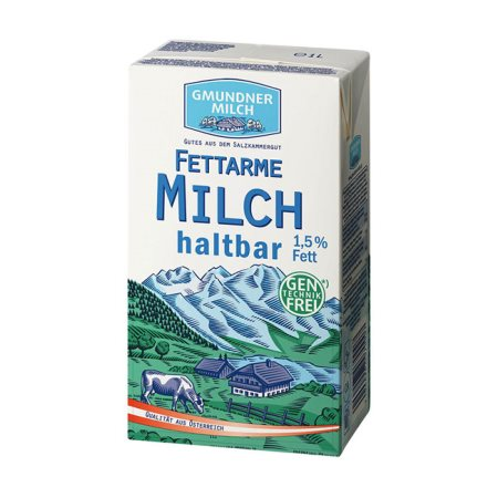 GMUNDNER MILCH Γάλα Υψηλής Παστερίωσης 1,5% Λιπαρά Ελαφρύ 1lt