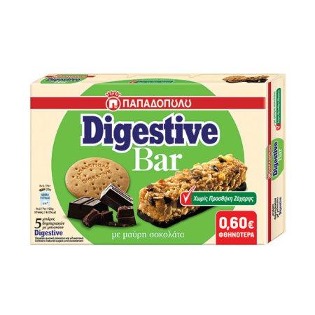 ΠΑΠΑΔΟΠΟΥΛΟΥ Digestive Bar Μπάρες Δημητριακών με Μαύρη Σοκολάτα Χωρίς ζάχαρη 5x28gr