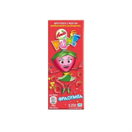 AMITA Fun Χυμός Φρουτοποτό Φράουλα Σταφύλι Μήλο 250ml