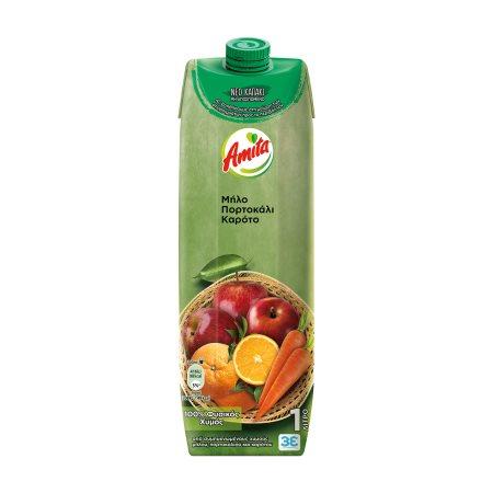 AMITA Χυμός Φυσικός Μήλο Πορτοκάλι Καρότο 1lt