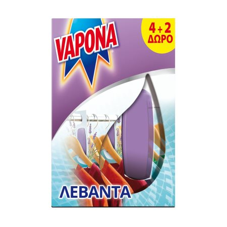 VAPONA Σκοροκτόνο Τζελ Λεβάντα 4τεμ +2 Δώρο