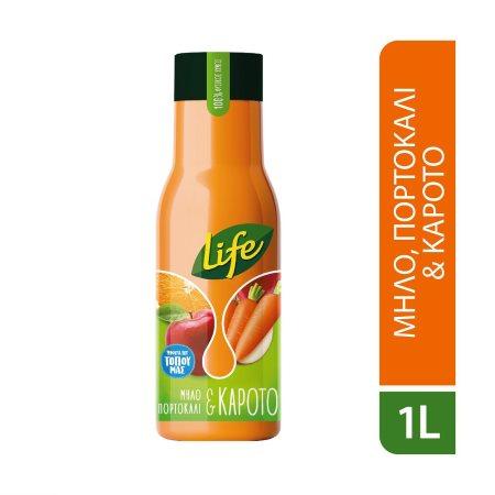 LIFE Φυσικός Χυμός Μήλο Πορτοκάλι Καρότο 1lt