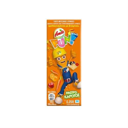 AMITA Fun Χυμός Φυσικός Μήλο Πορτοκάλι Καρότο 250ml