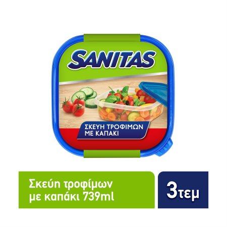 SANITAS Σκεύη Τροφίμων Πλαστικά Τετράγωνα 3x739ml