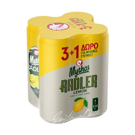 MYTHOS Radler Μπίρα με Λεμόνι 3x330ml +1 Δώρο