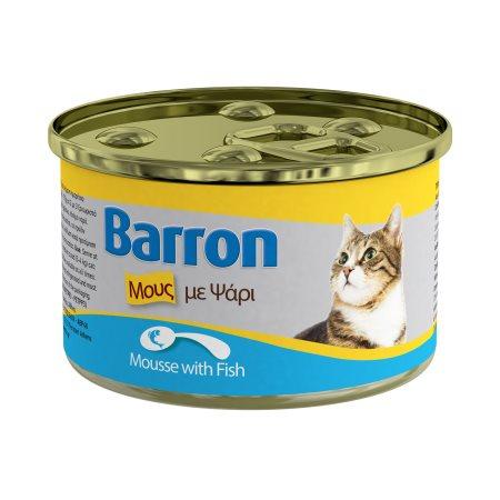 BARRON Υγρή Τροφή Γάτας Ψάρι Μους 85gr