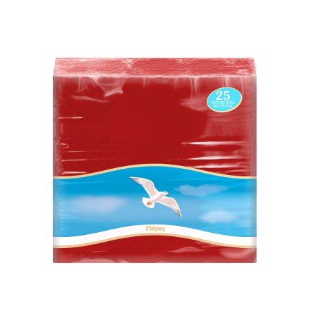 ΓΛΑΡΟΣ Χαρτοπετσέτες Κόκκινες 33x33cm 25 φύλλα 138gr