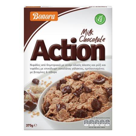 BONORA Action Δημητριακά Ολικής Άλεσης με Σοκολάτα Γάλακτος 375gr