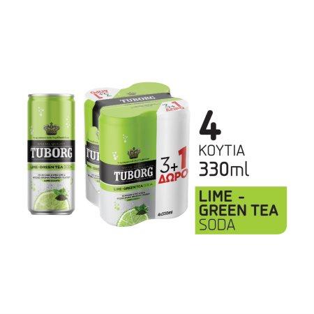 TUBORG Σόδα με Lime&Πράσινο Τσάι 3x330ml +1 Δώρο