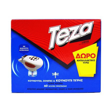 TEZA Εντομοαπωθητική  Συσκευή 2σε1 & Δώρο Υγρό Εντομοαπωθητικό 60 Νύχτες  Ανταλλακτικό