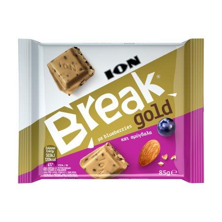 ION Break Σοκολάτα Λευκή με Αμύγδαλο & Μύρτιλα 85gr