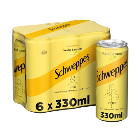 SCHWEPPES Σόδα με Λεμόνι Χωρίς ζάχαρη 6x330ml
