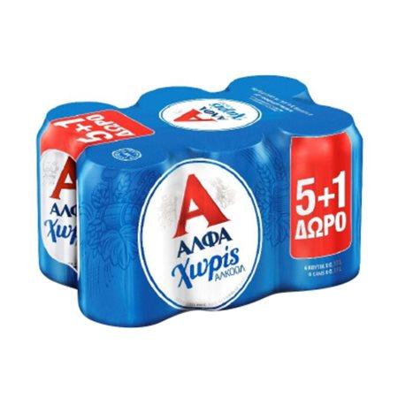 ΑΛΦΑ Μπίρα Χωρίς Αλκοόλ 5x330ml +1 Δώρο