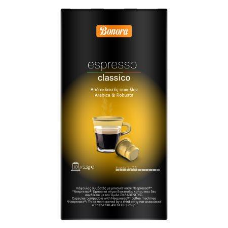 BONORA Καφές Espresso Classico σε Κάψουλες συμβατές με μηχανή Nespresso 10x5,3gr