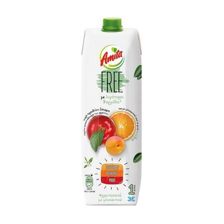 AMITA Free Χυμός Φρουτοποτό Πορτοκάλι Βερίκοκο Μήλο 1lt