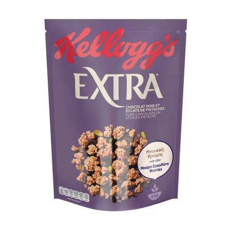 KELLOGG'S Extra Τραγανές Μπουκιές Δημητριακών με Βρώμη, Μαύρη Σοκολάτα & Φιστίκι 450gr