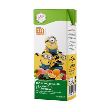 KIDS VALLEY Minions Χυμός Φυσικός Εxotic 9 Φρούτα 250ml