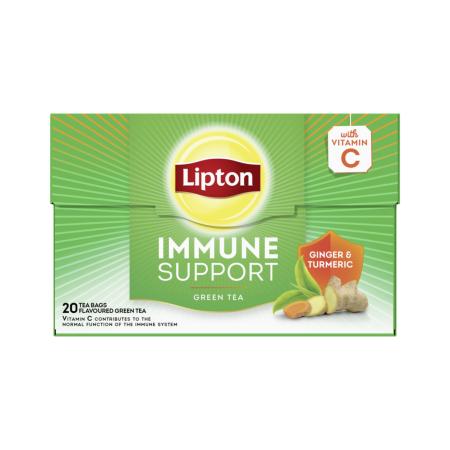 LIPTON Immune Support Πράσινο Τσάι Τζίντζερ & Κουρκουμάς 20 φακελάκια x1,3gr