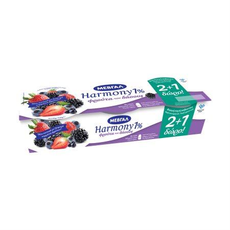 ΜΕΒΓΑΛ Harmony Επιδόρπιο Γιαουρτιού Φρούτα του Δάσους 2x200gr +1 Δώρο