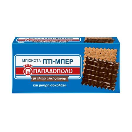ΠΑΠΑΔΟΠΟΥΛΟΥ Πτι Μπερ Μπισκότα με Μαύρη Σοκολάτα Ολικής Άλεσης 200gr