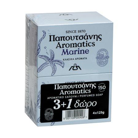 PAPOUTSANIS Aromatics Σαπούνι Marine 3x125gr +1 Δώρο