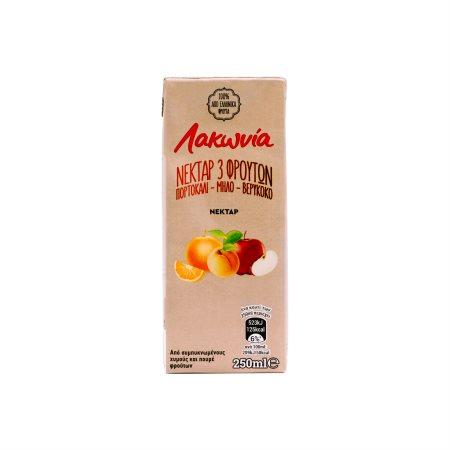 ΛΑΚΩΝΙΑ Χυμός Νέκταρ Πορτοκάλι Μήλο Βερίκοκο 250ml