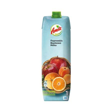 AMITA Χυμός Φρουτοποτό Πορτοκάλι Βερίκοκο Μήλο 1lt
