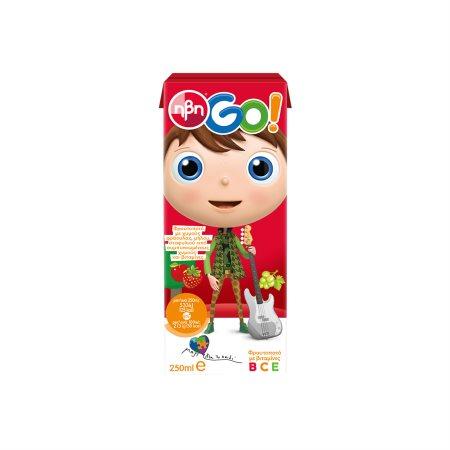 ΗΒΗ Go Χυμός Φρουτοποτό Φράουλα Μήλο Σταφύλι 250ml